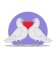doves holding red heart symbol love by neck vector image vector image