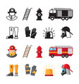 firefighter accessorises fireman tools vector image vector image