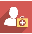 First Aid Man Flat Square Icon with Long Shadow vector image vector image