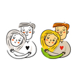 Freehand cartoon cuddling couple in love bright St vector image vector image
