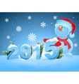 Funny snowman greeting 2015 vector image vector image