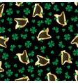 gold harp and shamrocks pattern vector image vector image