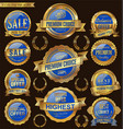 golden and blue retro badges and labels collection vector image