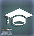Graduation icon On the blue-green abstract vector image