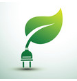green eco power plug design with green leave vector image vector image