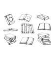 hand drawn books vintage open and closed doodle vector image vector image