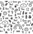 hand drawn seamless pattern on love theme doodle vector image vector image