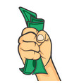hand make fist holding money vector image vector image