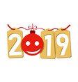 happe new year gold background isolated 2019 vector image