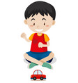 happy boy playing with toy car vector image vector image