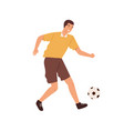 happy male professional football player kicking vector image vector image