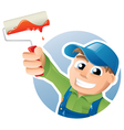 Happy painter with a paint roller vector image vector image