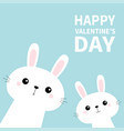 happy valentines day two rabbit bunny set in the vector image vector image