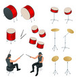 isometric drummer behind drum icon set vector image vector image