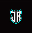 j r initial logo design with shield shape vector image vector image