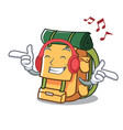 listening music backpack mascot cartoon style vector image