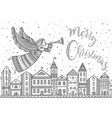 merry christmas angel with horn flying above vector image vector image