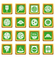 pizza icons set green vector image vector image