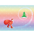 Santa skiing to Christmas tree vector image vector image
