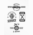 set of car repair badges vector image