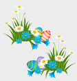set of colorful easter eggs with patterns isolated vector image