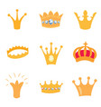 set of gold crown icons isolated elements vector image