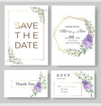 set wedding invitation cardsave date vector image vector image