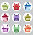 Shopping basket icons set supermarket shopping vector image vector image
