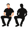 silhouette a man sitting vector image vector image