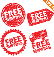Stamp stitcker Free Shipping tag collection vector image vector image