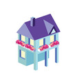 town house in isometric view with trees vector image