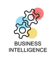 two gears for business intelligence on white vector image vector image