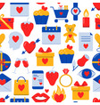 valentines day seamless pattern with icons in flat vector image