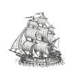 vintage wooden ship with sails navigation sketch vector image vector image