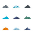 mountain icons set flat style vector image