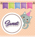 cute cat sweet kawaii character birthday card vector image