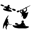 Silhouette kayakers vector image