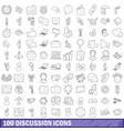 100 discussion icons set outline style vector image vector image