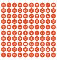 100 on-line seminar icons hexagon orange vector image vector image