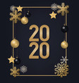 2020 golden numbers with snowflakes vector image vector image