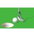 A golf ball near the hole vector image vector image