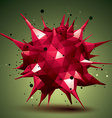 Abstract 3D structure polygonal network object red vector image vector image