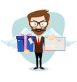 angel man-hipster with wings a heart and letter vector image