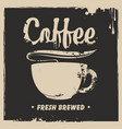 banner with a cup of hot coffee and a splash vector image vector image