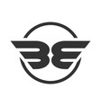 be initials winged shape symbol design vector image vector image