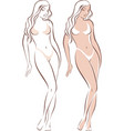 beautiful female standing figure vector image vector image