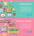 bedroom interior decoration poster set vector image