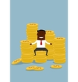 Black businessman sitting on golden coins stacks vector image