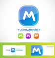 Blue letter M button vector image vector image