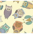 bold seamless pattern with cute owls perfect vector image
